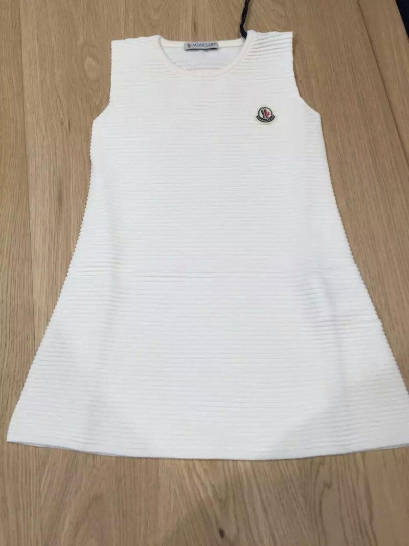 Girls White Striped Knitted Cotton Sleeveless Dress - CÉMAROSE | Children's Fashion Store