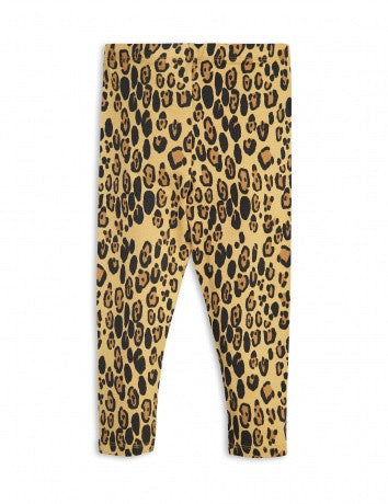 Girls Beige Basic Leopard Leggings