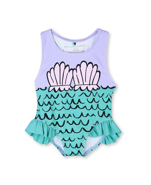 Baby Girls Purple Painted Swimsuit (UPF50+)