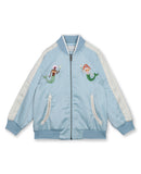 Girls Sea Blue Embroidered Jacket