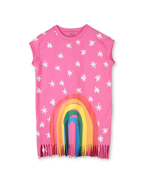 Girls Pink Rainbow Stripe Cotton Dress