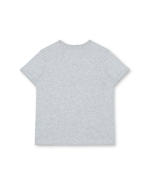 Girls Grey Painted Cotton T-shirt