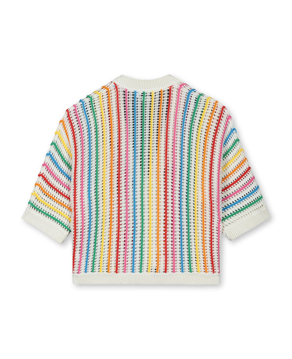 Girls Rainbow Stripe Cotton Cardigan