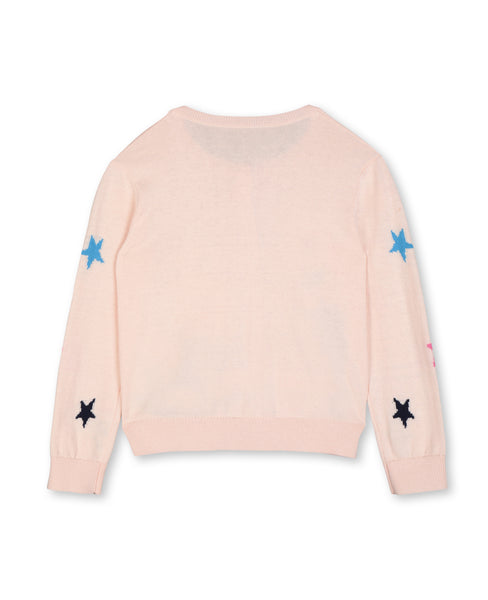 Girls Light Pink Stars Cotton Cardigan