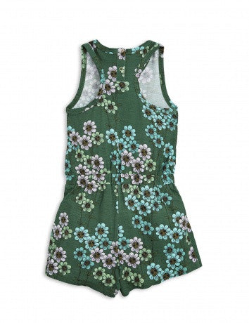 Girls Dark Green Flowers Printed Romper