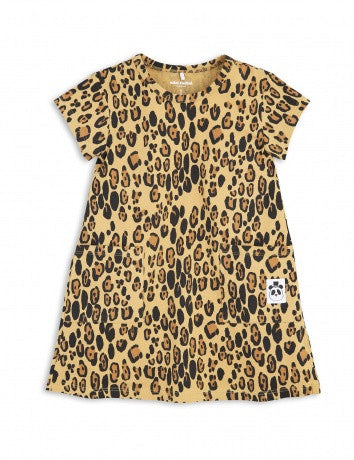 Girls Beige Basic Leopard Dress