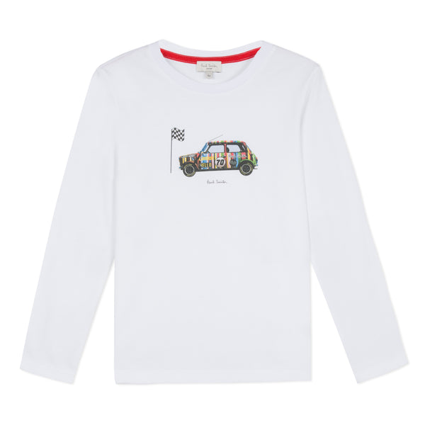 Boys White Car Cotton Top