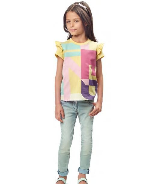 Girls Multicolour Cotton T-Shirt With Yellow Frilly Cuffs - CÉMAROSE | Children's Fashion Store - 2