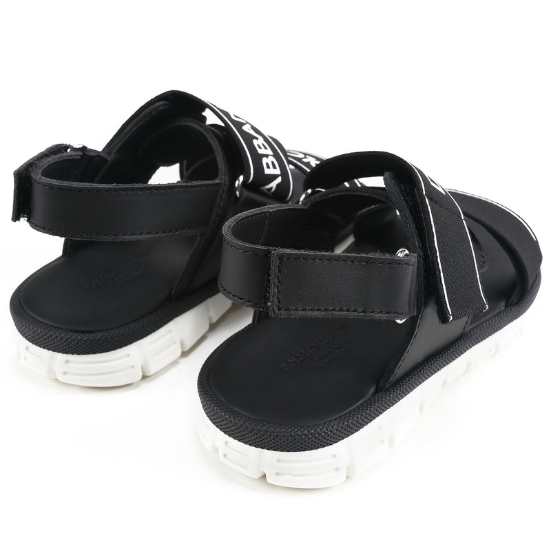 Girls & Boys Black Logo Sandals