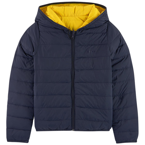 Boys Black & Yellow Reversibie Coat