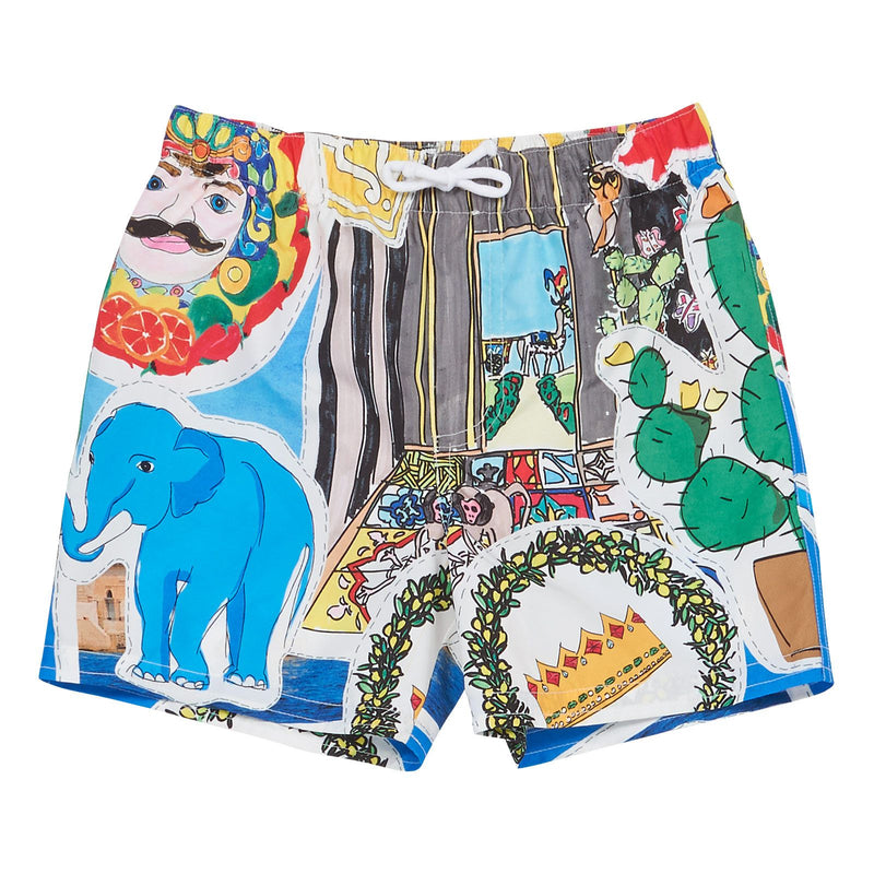 Boys Multicolor Printed Beachwear Short - CÉMAROSE | Children's Fashion Store - 1
