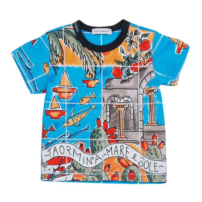 Baby Boys Multicolor Printed Cotton Beachwear T-Shirt - CÉMAROSE | Children's Fashion Store - 1