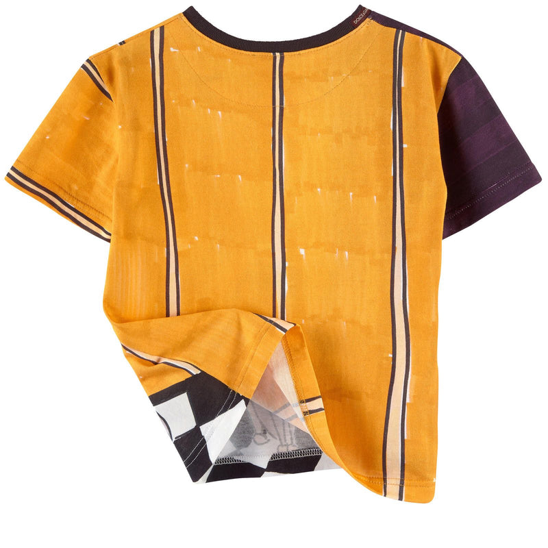 Boys Yellow&Black Monkey Printed Cotton Jersey T-Shirt - CÉMAROSE | Children's Fashion Store - 2