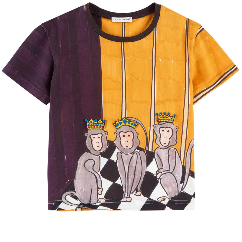 Boys Yellow&Black Monkey Printed Cotton Jersey T-Shirt - CÉMAROSE | Children's Fashion Store - 1
