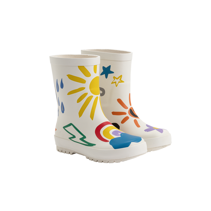Girls White Weather Rainy Boots