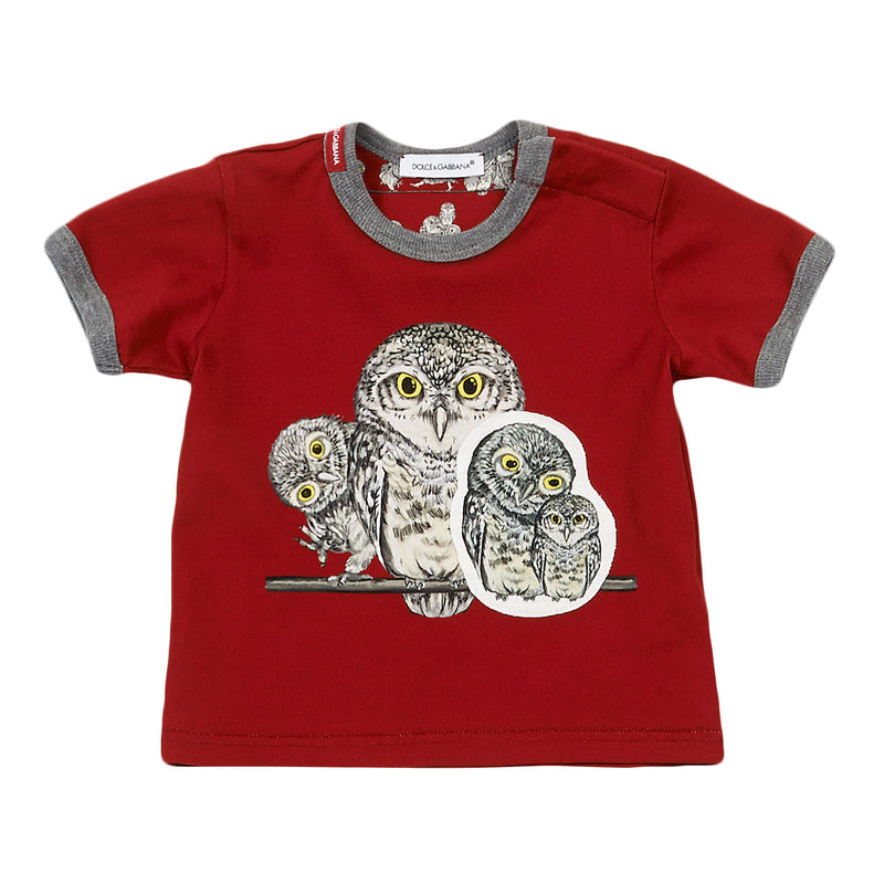 Baby Boys Red Owls Printed Cotton T-Shirt With Grey Cuffs - CÉMAROSE | Children's Fashion Store - 1