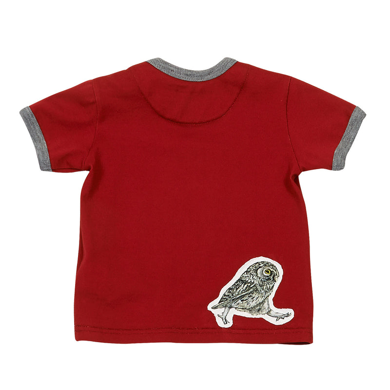 Baby Boys Red Owls Printed Cotton T-Shirt With Grey Cuffs - CÉMAROSE | Children's Fashion Store - 2