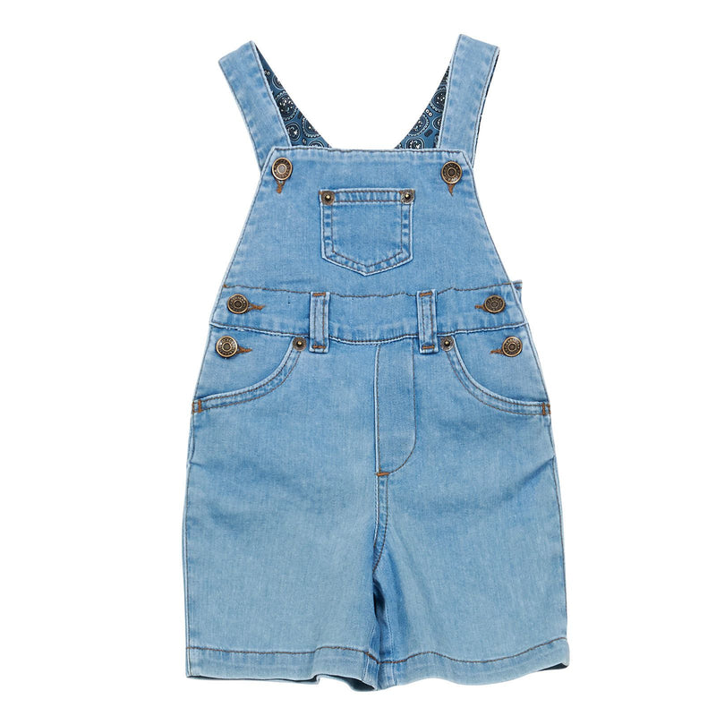 Baby Boys Blue Denim Jersey Strap Dungarees - CÉMAROSE | Children's Fashion Store - 1