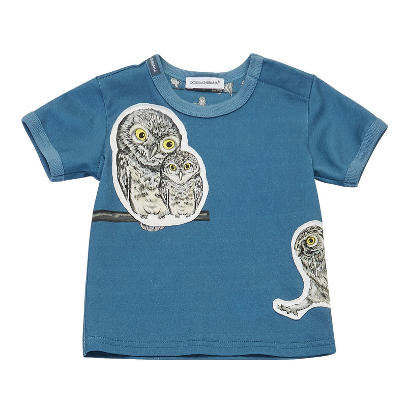 Baby Boys Blue Owls Printed Cotton T-Shirt - CÉMAROSE | Children's Fashion Store - 1