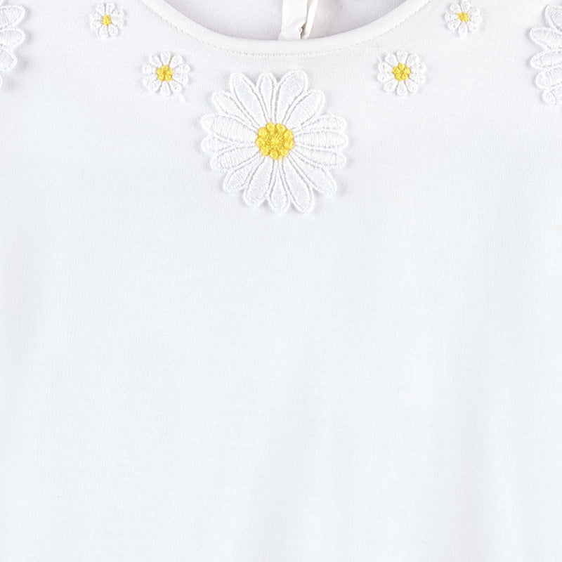 Girls Ivory Flower Patch Cotton T-Shirt - CÉMAROSE | Children's Fashion Store - 3