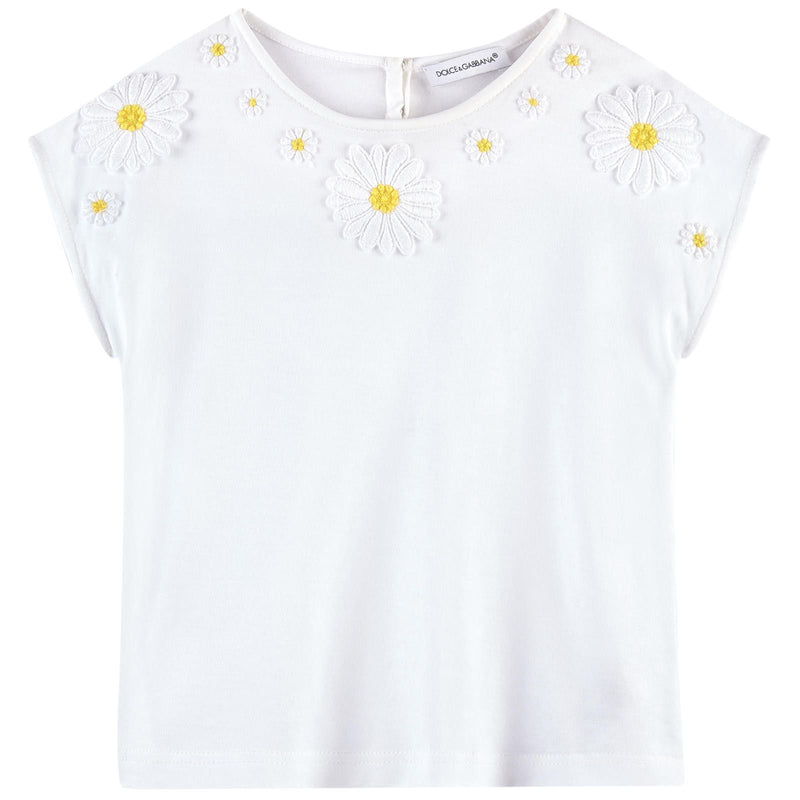 Girls Ivory Flower Patch Cotton T-Shirt - CÉMAROSE | Children's Fashion Store - 1
