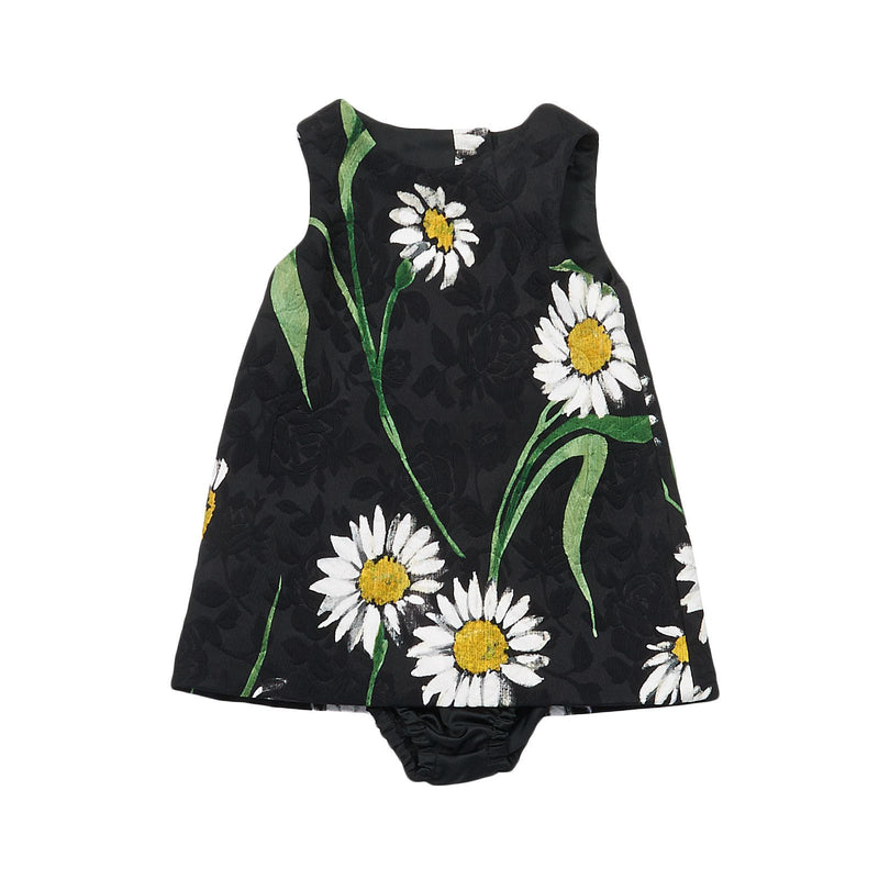Baby Girls Black Flower Printed Silk Chiffon Dress - CÉMAROSE | Children's Fashion Store - 1