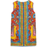 Girls Multicolor Teatro Pupi Printed Pinafore Dress - CÉMAROSE | Children's Fashion Store - 2