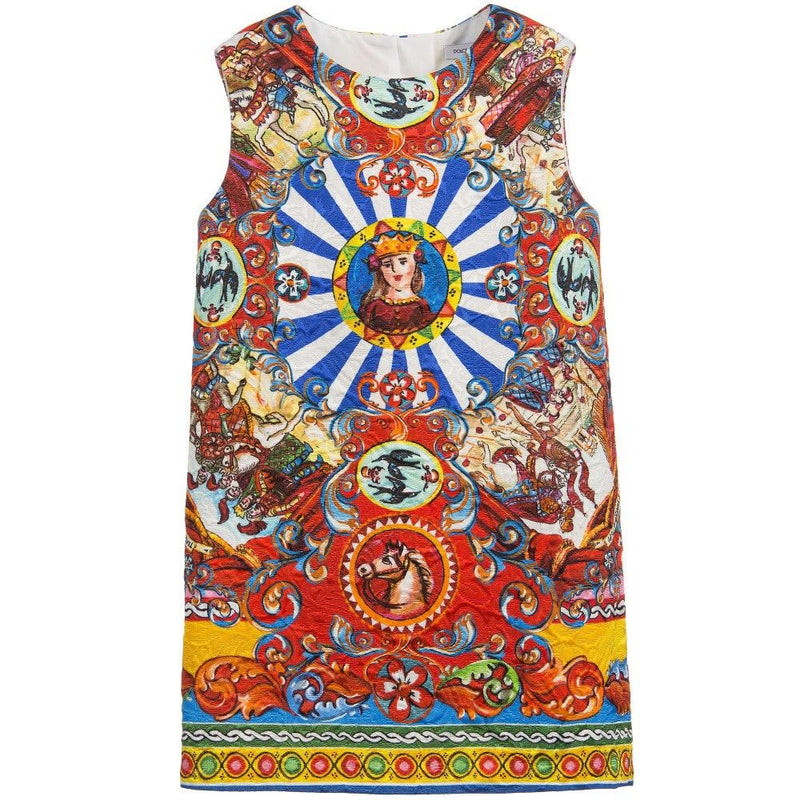 Girls Multicolor Teatro Pupi Printed Pinafore Dress - CÉMAROSE | Children's Fashion Store - 1