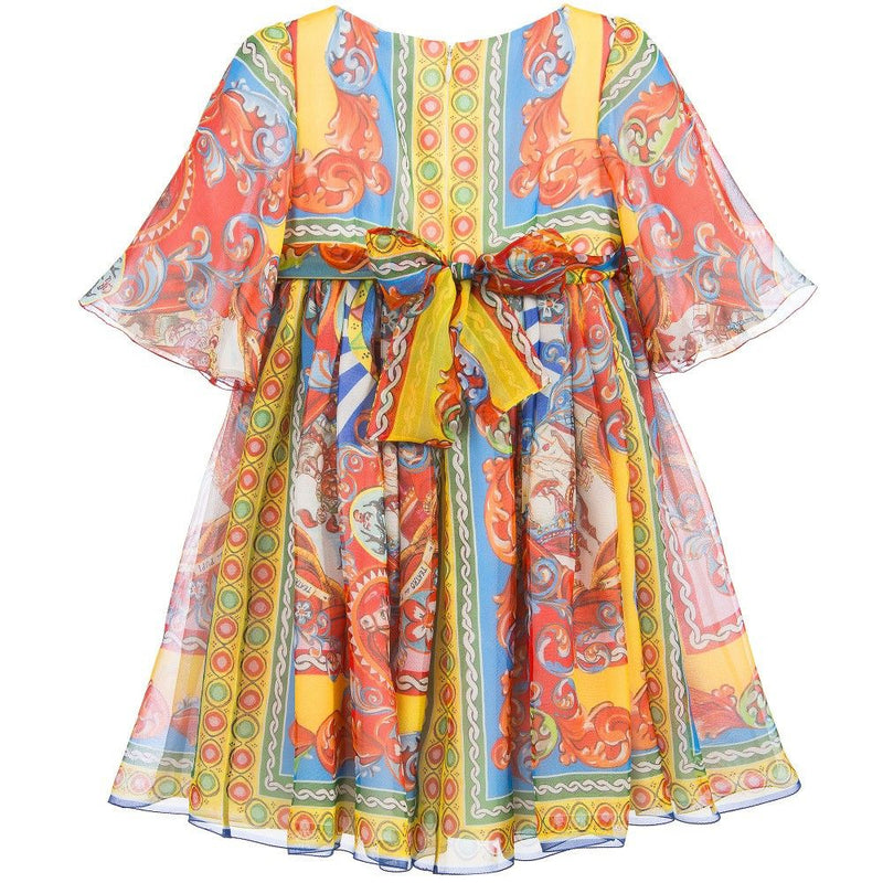 Girls Multicolor Printed Silk Chiffon Dress - CÉMAROSE | Children's Fashion Store - 3