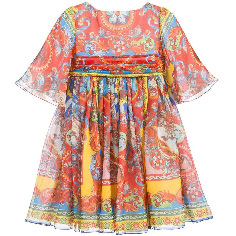 Girls Multicolor Printed Silk Chiffon Dress - CÉMAROSE | Children's Fashion Store - 1