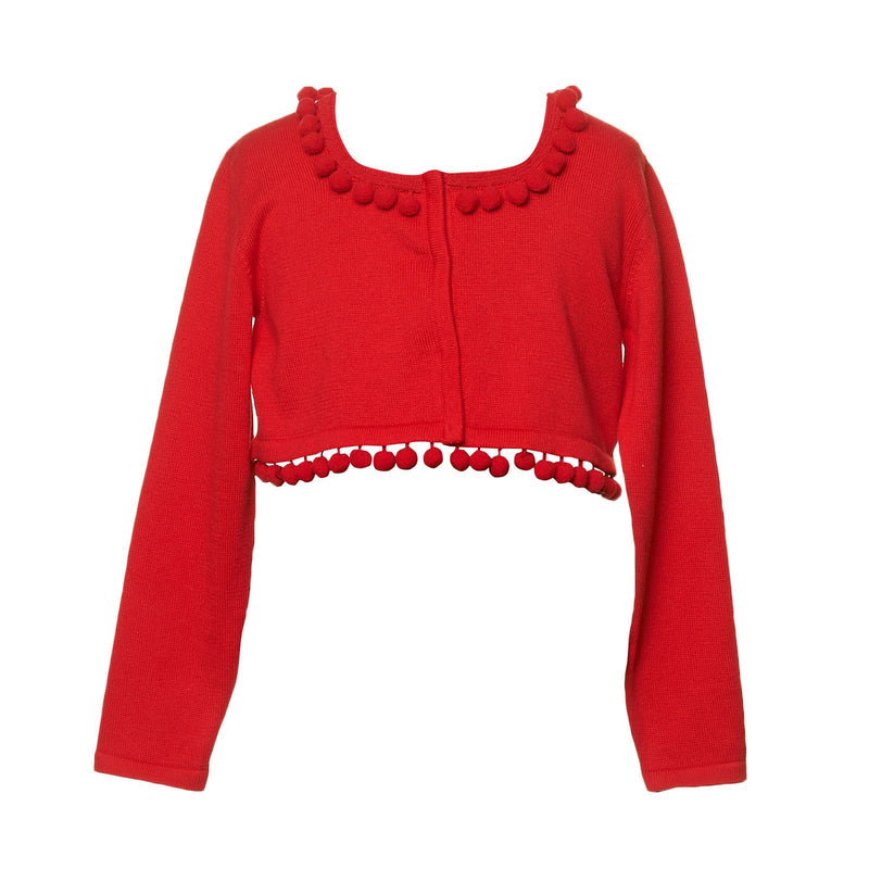 Girls Red Knitted Short Cardigan With Lace Collar - CÉMAROSE | Children's Fashion Store - 1