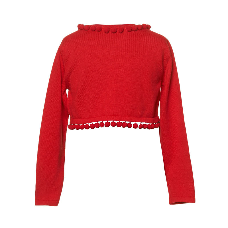 Girls Red Knitted Short Cardigan With Lace Collar - CÉMAROSE | Children's Fashion Store - 2