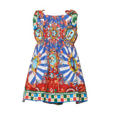 Girls Multicolor Teatro Pupi Printed Pinafore Cotton Dress - CÉMAROSE | Children's Fashion Store - 1