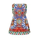 Girls Multicolor Teatro Pupi Printed Pinafore Cotton Dress - CÉMAROSE | Children's Fashion Store - 2