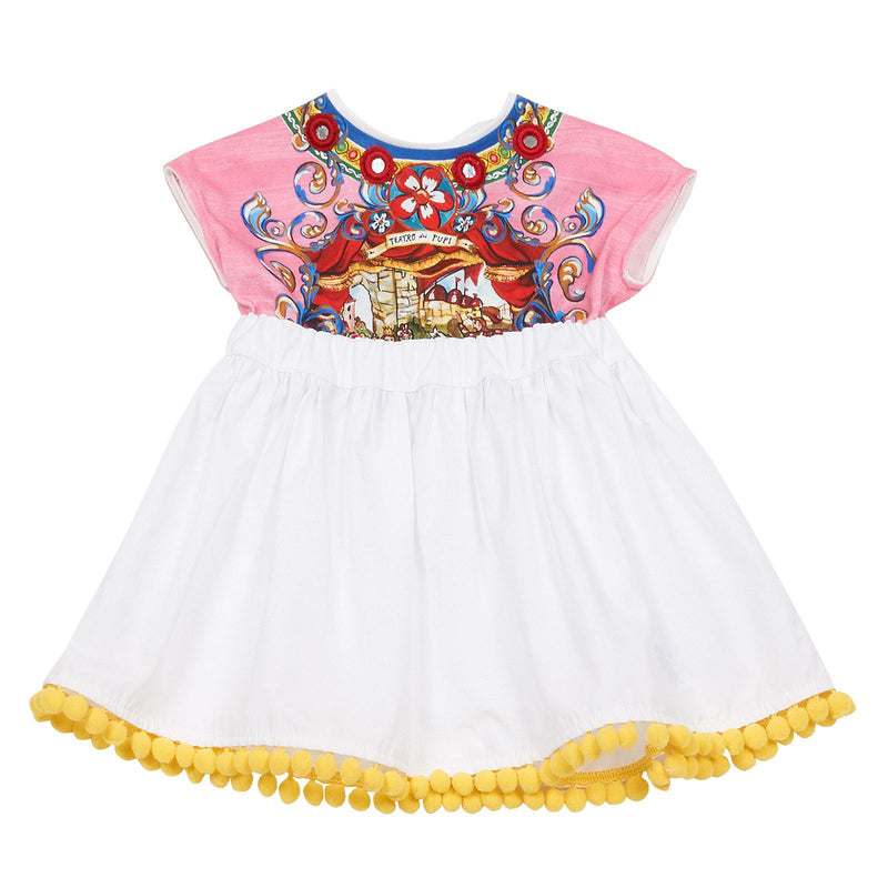 Baby Girls Multicolor Printed Top&White Bottom Dress With Pompon Trims - CÉMAROSE | Children's Fashion Store - 1