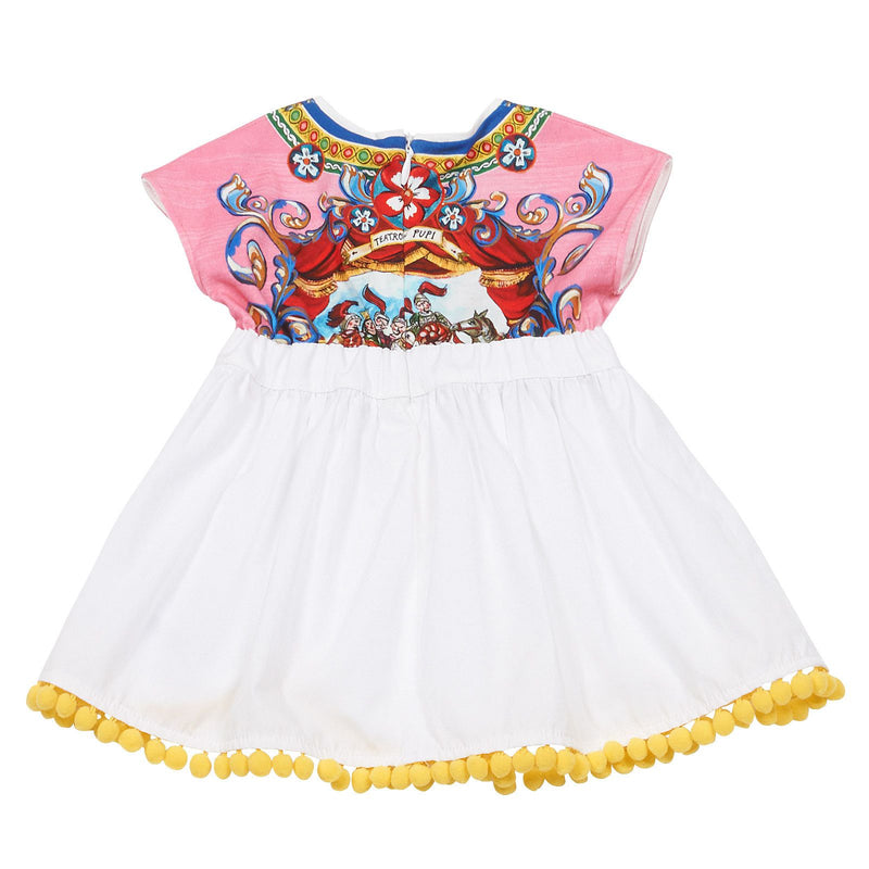 Baby Girls Multicolor Printed Top&White Bottom Dress With Pompon Trims - CÉMAROSE | Children's Fashion Store - 2