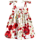 Girls White Cotton Flower Printed Dress With Bow Straps - CÉMAROSE | Children's Fashion Store - 2