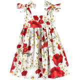 Girls White Cotton Flower Printed Dress With Bow Straps - CÉMAROSE | Children's Fashion Store - 1