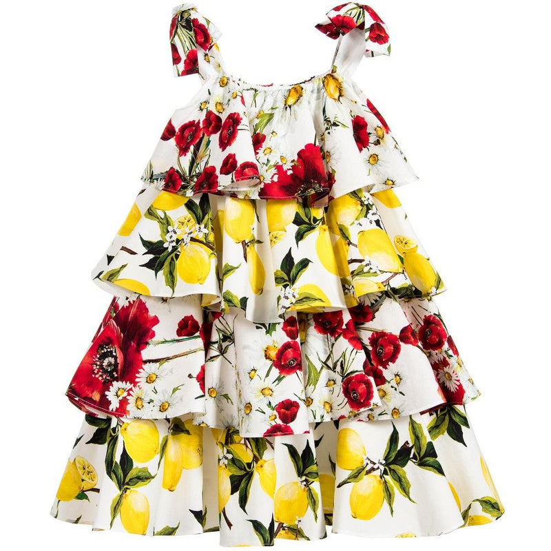 Girls White Cotton Flower&Lemons Printed Ruffled Dress - CÉMAROSE | Children's Fashion Store - 2