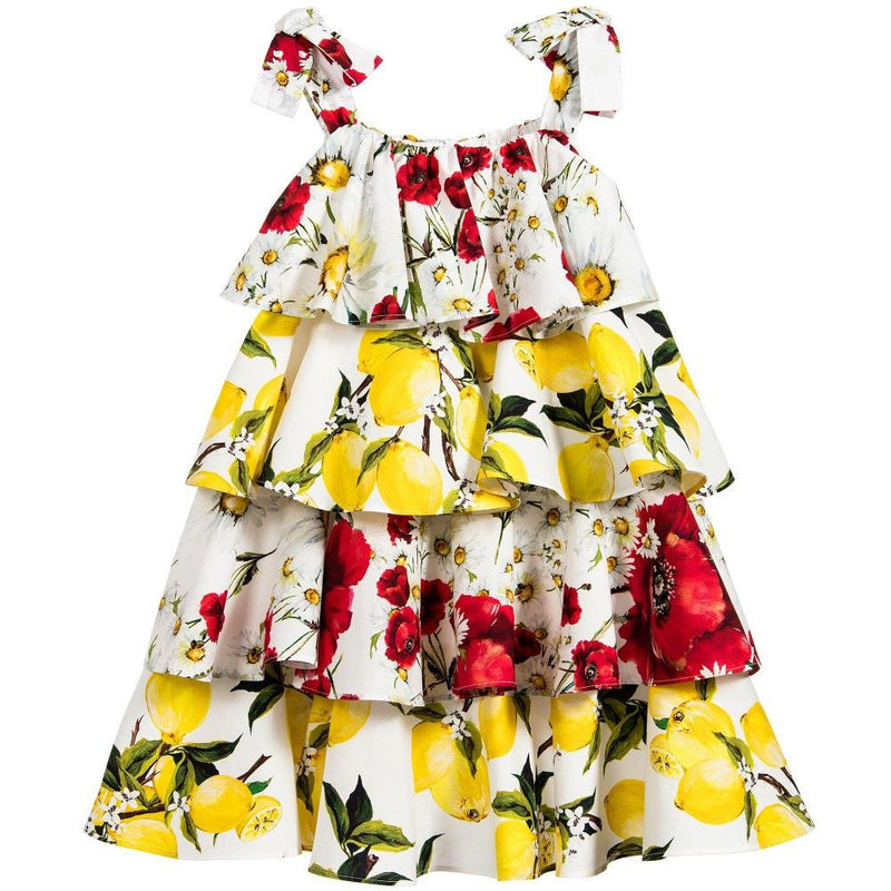 Girls White Cotton Flower&Lemons Printed Ruffled Dress - CÉMAROSE | Children's Fashion Store - 1