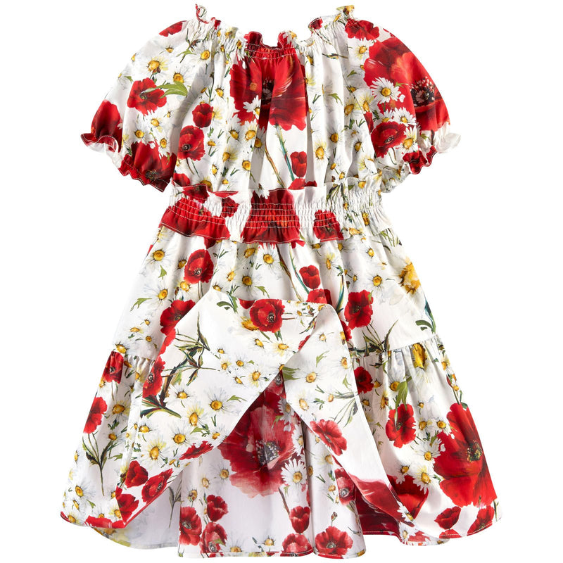 Girls White Cotton Flower Printed Short Sleeve Dress - CÉMAROSE | Children's Fashion Store - 2