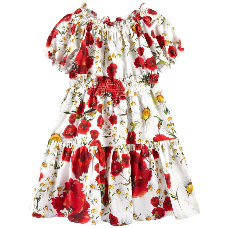 Girls White Cotton Flower Printed Short Sleeve Dress - CÉMAROSE | Children's Fashion Store - 1