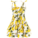 Girls White Lemons Printed Ruffled Dress - CÉMAROSE | Children's Fashion Store - 1