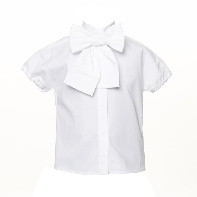 Girls Ivory Short Sleeve Blouse With Bow Trims - CÉMAROSE | Children's Fashion Store - 1