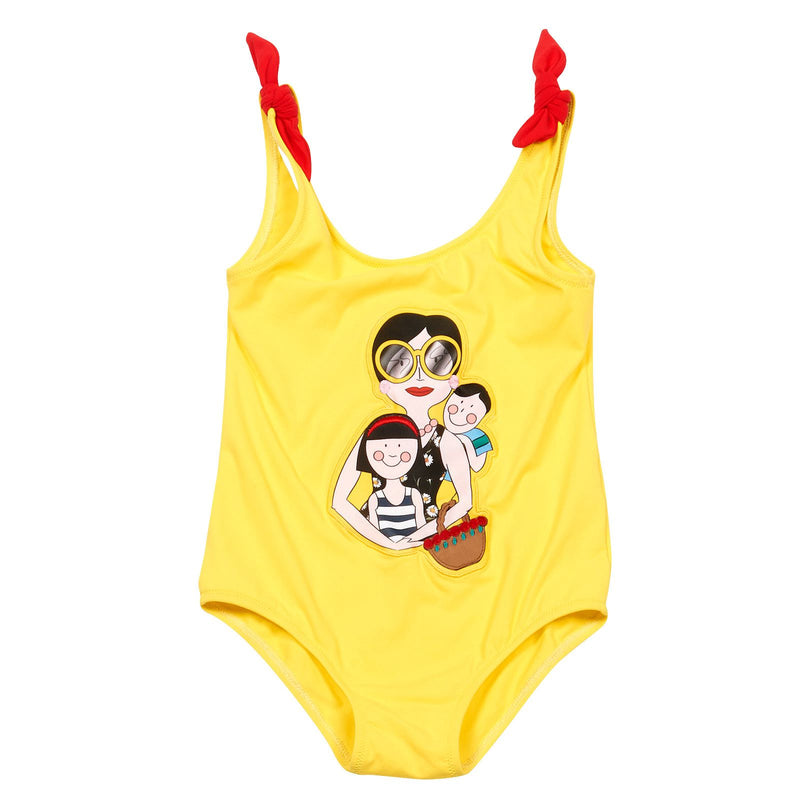 Girls Yellow Cartoon Printed Bow Straps Swimsuit - CÉMAROSE | Children's Fashion Store - 1