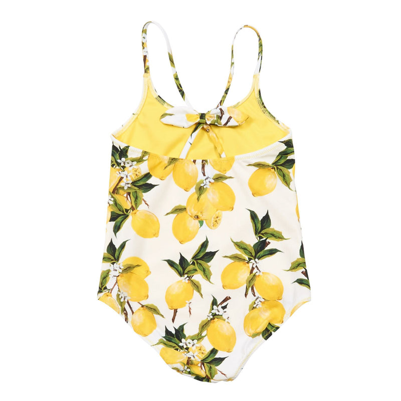 Girls White Lemons Printed Backless Swimsuit - CÉMAROSE | Children's Fashion Store - 2