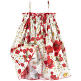 Girls White Cotton Flower Printed Backless Dress - CÉMAROSE | Children's Fashion Store - 2