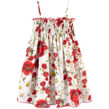 Girls White Cotton Flower Printed Backless Dress - CÉMAROSE | Children's Fashion Store - 1