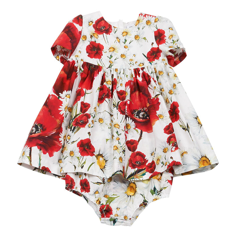 Baby Girls White Flower Printed Dress With Bodysuit - CÉMAROSE | Children's Fashion Store - 1