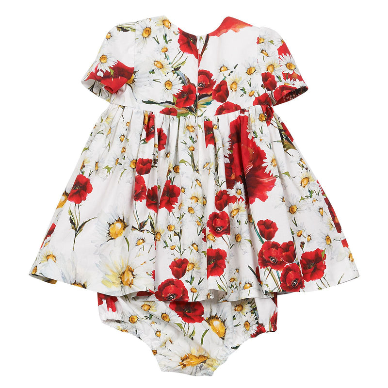 Baby Girls White Flower Printed Dress With Bodysuit - CÉMAROSE | Children's Fashion Store - 2